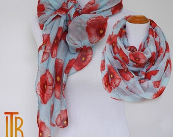 Floral Infinity Scarf, Red and Blue Woman Scarves, Red Poppy Flower Scarf, Fashion Loop Scarf, Women Fashion Accessories, Gifts For Her