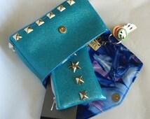 Turquoise, unicorn clutch