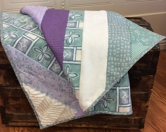 Purple Aqua and Mint Lap or Wheelchair Quilt