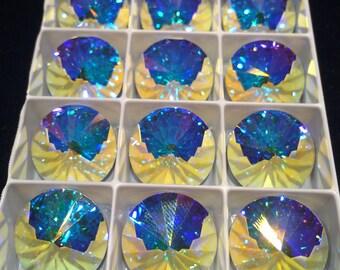 Swarovski Rivoli, 18mm, Crystal AB, 112218CRYSAB-F, 2 Beads, Austrian Crystal