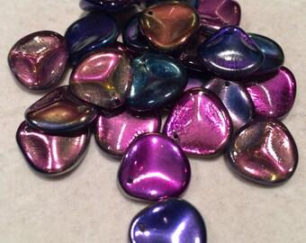 Rose Petal Beads, 14x13mm,Crystal Magic Blue, 00030-95100, 25 Beads, Czech Glass