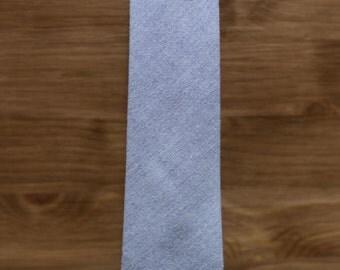 men's necktie - light blue grey oxford cotton