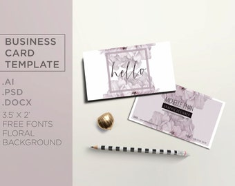 Modern business card template / floral business card / creative design / chic business card ( pink floral background )