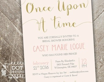 Once Upon a Time - Bridal Shower Invitation - Custom Digital Print