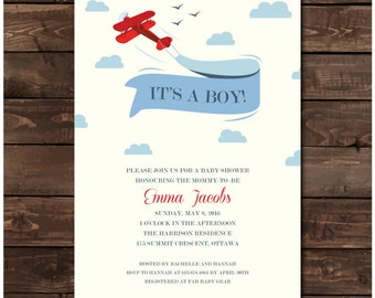 Airplane Baby Shower Invitation Printable - Airplane Baby Shower Invites with Banner