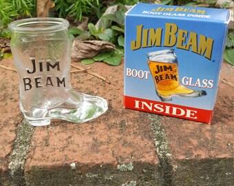 Vintage Jim Beam Boot Shot Glass in Box 2 oz 1993 1990s