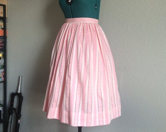 High waisted baby pink gathered skirt