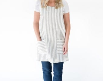 Linen Cross Back Apron in Sand Natural Stripe