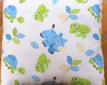 Boys Nursery Blue and Lime Green With Baby Animals Cushion Cover 40cm x 40cm