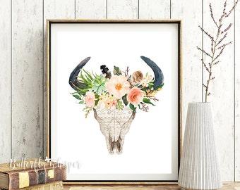 Tribal bull skull with flowers, Tribal printable, Boho printable, Watercolor bull skull with flowers print, Tribal wall decor, Printable art