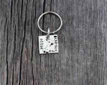 Hand stamped dog ID tag / bone charm dog tag / square dog tag