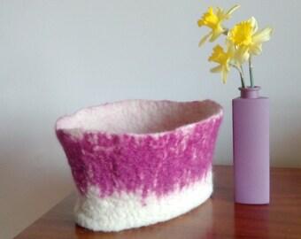 Felt Basket, Storage Basket, Felted bowl, Home decor, Modern decor, Desk organizer, Wool felt