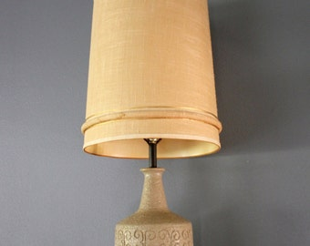 Oversized Mid Century Statement Lamp with Mod Scroll Design in Sandy Taupe