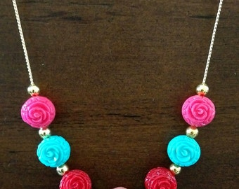 Asian Inspired Carved Bead Necklace