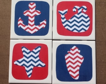 Red and Blue Chevron Beach Coasters - Starfish, Whale, Anchor and Seashell