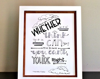 Henry Ford Quote Print / Motivational Office Decor Print / Typography Wall Art / Success Quotes