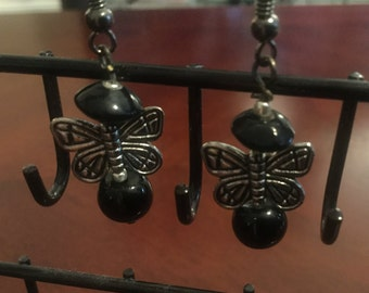 Butterfly and Black bead earrings