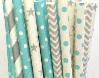 2.85 US Shipping -Winter Paper Straws- Silver/Blue straws - Cake Pop Sticks - Drinking Straws