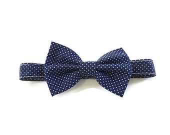 Navy Blue Polka Dots Bow Tie - Boys Bow tie, Men's bow tie, Boys tie, Cotton bow tie, Baby bow tie
