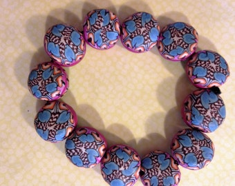 Beautiful Kaleidoscope Cane Polymer Clay bracelet