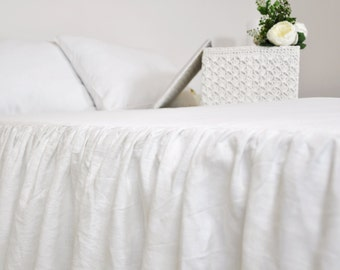 White Linen Bed Skirt, Custom Dust Ruffle, Queen, King, Full - Ruffled Linen Bedskirt, Gathered Bedskirt - Cottage, Shabby Chic Bedding