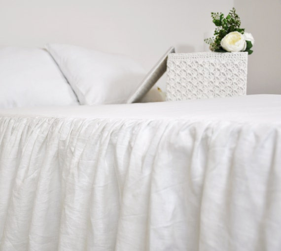 white linen king bed skirt tokida for