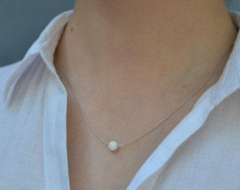 OPAL NECKLACE // Tiny Opal Necklace Silver - White Opal Ball Necklace - Dot Necklace - Single Bead Necklace - Opal Bead Necklace