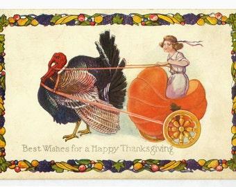 Original 1900s Thanksgiving postcard shows turkey pulling child in pumpkin cart