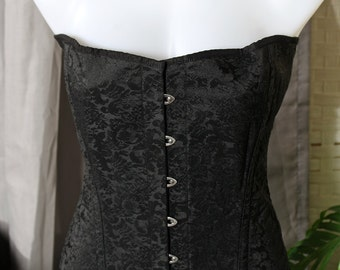 "Private Zone Black-on-Black embroidered Corset  42"" waist"