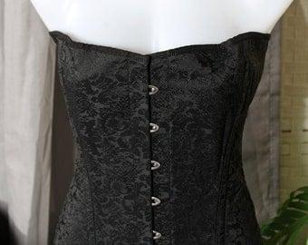 Private Zone Black-on-Black embroidered Corset