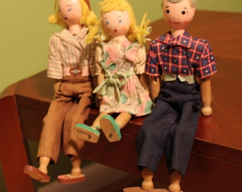 Schoenhut Pinn Family Doll Set- Clo Pinn, Beauty Pinn, Ty Pinn Dolls by Emily Meyers. Patented.