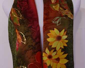 Thanksgiving Scarf, Fall scarf, Silk Woman's Scarf, Handmade Silk Scarf, Hand Painted Silk Scarf, Scarves, Sunflower, Mother's Day Gifts