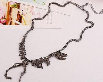 Gun Metal Tone Dinosaur T-Rex Necklace