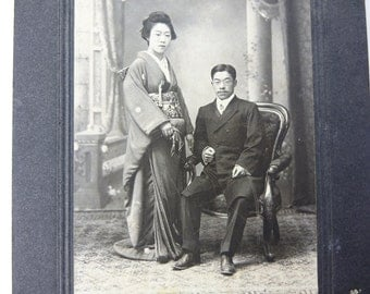 1800's Japanese old photo of a couple