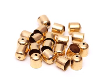 8mm Raw Brass End Caps, 10 pcs Brass Cord Ends for Rope Jewelry, Jewelry Findings, Jewelry Making Supplies