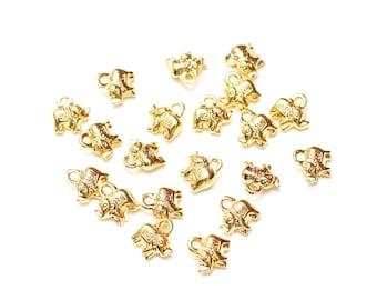 Bulk 20 pcs Gold Elephant Charm, 14k Gold Plated Eephant, 10x11mm Gold Lucky Charm