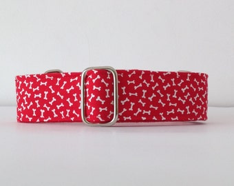 bones with red background, Collar martingale, Greyhound Collar, dog collars, belt, red dog - 4GUAUS.COM
