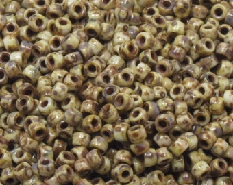 MATUBO 7/0 WHITE PICASSO Seed Beads - Czech Seed Beads - 10 Grams