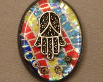 Judaica Pendant with Chain.  Hamsa Pendant. Jewish Jewelry. Judaica Jewelry.  Jewish Pendant.  Judaica Necklace.  Jewish Necklace   # P-125