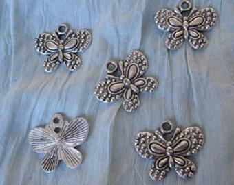 5 Butterfly Charms, Butterfly Charm, Butterfly