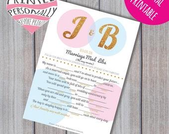 Personalised wedding easy mad libs - Mad lib printable - Wedding advice - Guest book mad libs - Mad lib advice - Prediction game