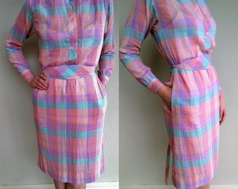 Vintage Rainbow Dress, Plaid Day Dress, Vintage Shirt Dress, Colorful Womens Dress with Pockets, Medium, Small