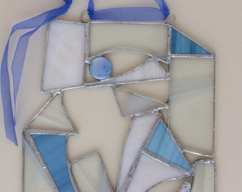 Copper foil abstrast stained glass panel/suncatcher in blue/white/clear glass.