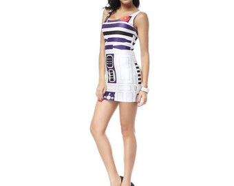READY TO SHIP R2D2 Star Wars Bodycon Dress Womens Adult Costume Cosplay Sexy Robot Outfit Size Small Medium Halloween
