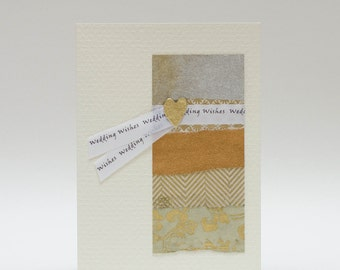 """Handmade Greeting Card - """"Wedding Wishes"""" Wrap-Around Greeting on Fine Art Papers"""