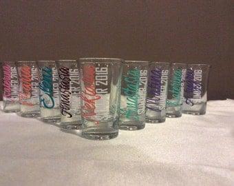 SALE: Personalized Shot Glasses, Bachelorette Shot Glass, Wedding Shot Glass, Spring Break, Bridal Party Gift, Bridesmaid, Wedding Favor