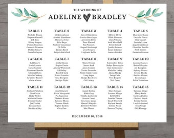 Wedding seating chart, large poster, table seat assignment, guest seating chart, reception display, wedding welcome, DIGITAL, customized