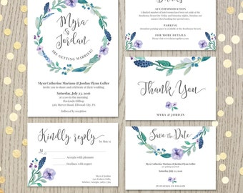 Floral wedding invitation set, customized card, personalized wedding printable, save the date, rsvp, thank you card, watercolor design