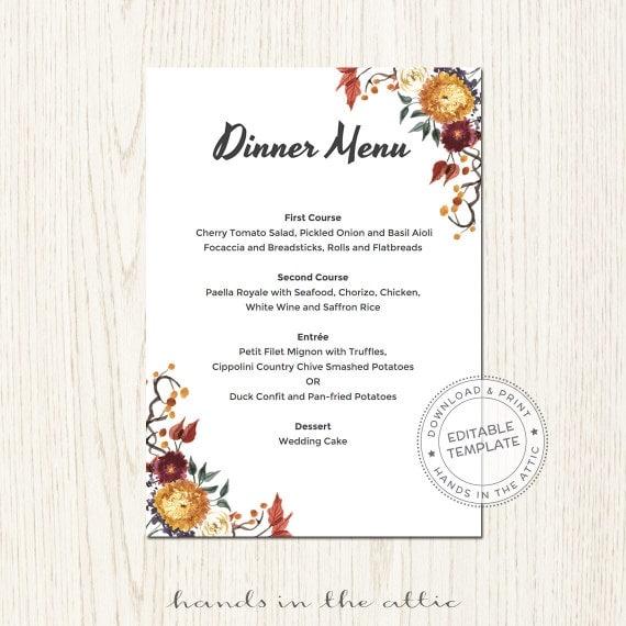 Fall Wedding Buffet Menu Ideas: Fall Wedding Menu Template Printable Dinner By HandsInTheAttic