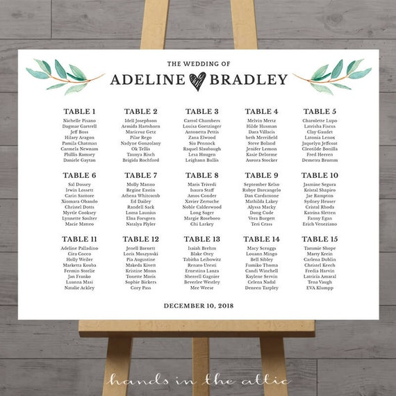 wedding seating chart large poster table seat assignment